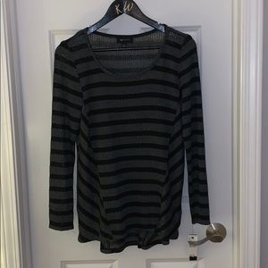long sleeve grey and black striped sweater